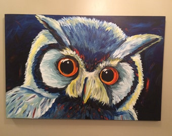 Owl Painting, Large colorful owl painting on stretched canvas, original art.