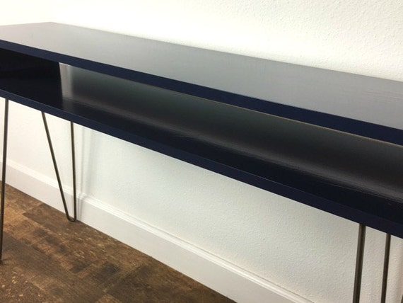 items similar to navy blue mid century modern console table with hairpin legs customizable. Black Bedroom Furniture Sets. Home Design Ideas