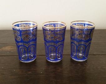 Blue & Gold Moroccan Juice Glasses