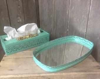 170 - Vintage - Filigree  -Vanity Set -Mirrored Tray -Tissue Box Holder -Wedding -Metal - Seaglass - Distressed