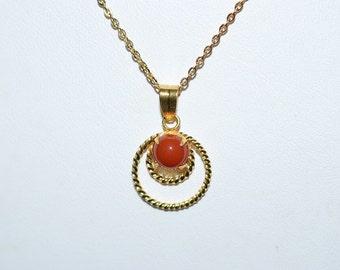Vintage, Carnelian Filiree Gold Filled Pendant Necklace (1050018)