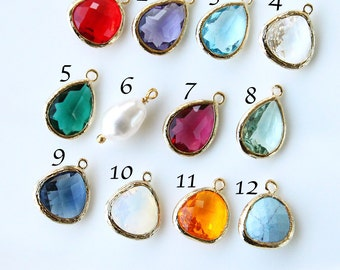 Birthstone necklace, Gold birthstone jewelry, Birthday jewelry gift, Birthday gift, Bridesmaid gift, Wedding jewelry, Christmas gift jewelry