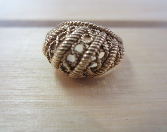 10k Dome Ring, Yellow Gold Fancy Dome Ring