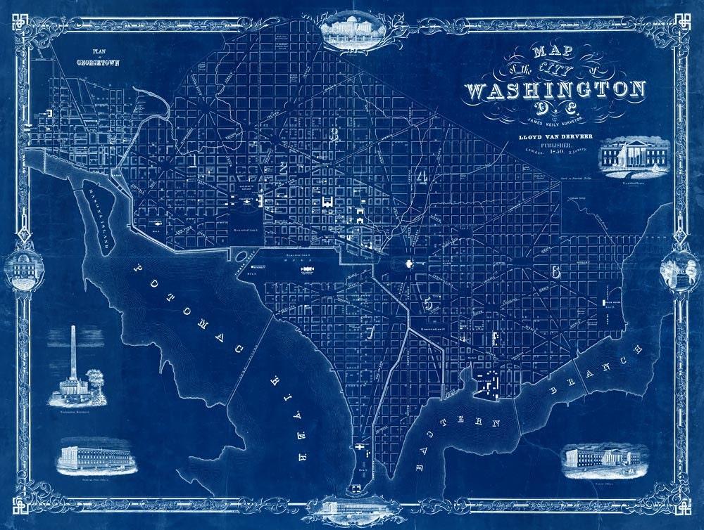 Washington Dc Map 1850 Old Map Of Washington D C 4 By