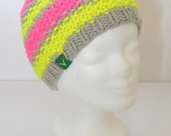 MANDY Hat grey neon yellow and neon pink - unique