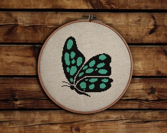 Modern Cross Stitch Pattern / PDF Chart Instant Download / Butterfly