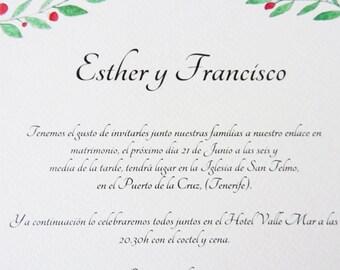 Invitation of wedding, rustic wedding invitation suite, garden, greenery, country, watercolor