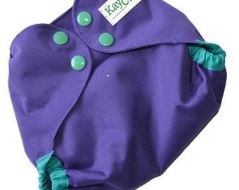 Purple cloth diaper cover, one size diaper, all in two diaper, green diaper, wipeable diaper, newborn diaper, baby shower gift, baby gift