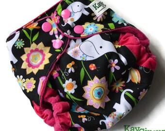 Elephant diaper, flower diaper, rainbow diaper, colorful diaper, Pink diaper, pocket diaper, baby girl, new baby gift, baby shower gift
