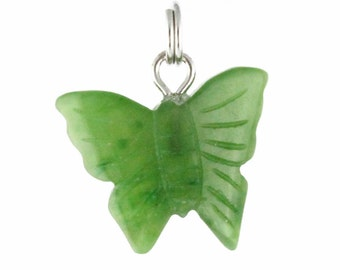 Canadian Nephrite Jade Charm, Butterfly