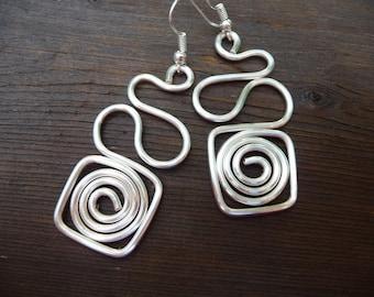 Spiral Earrings Shiny Silver Earrings, Silver Swirl Earrings, Bright Silver Spiral Earrings, Dangle Earrings, Silver Jewelry, Simple Earring