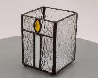 Stained Glass Birthday Candle Clear Votive Shelter by Kolor Waves Glass