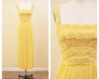 Vintage 1960's Chiffon Yellow Beaded Bodice Gown