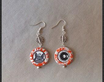 Hand painted wood earrings, Totoro and Blackie