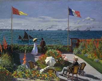 The Garden At Sainte Adresse by Claude Monet, in various sizes, Giclee Canvas Print