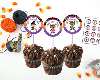 INSTANT DOWNLOAD - Halloween Favor Tags - Printable Halloween Labels - DIY - Halloween Party Label - Halloween Cupcake Toppers