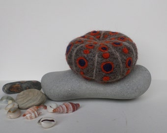 Orange and Dark Blue Sea Urchin shell felt sculpture