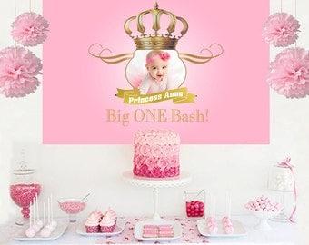 Royal Princess Photo Personalized Backdrop - Birthday Cake Table Backdrop, 1st Birthday Princess, Royal Baby Shower, Printed Baackdrop