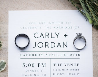 Modern Wedding Invitation | Minimalist Wedding Invitation | Simple Wedding Invitation | Wedding Invitation Suite | Inserts Available!