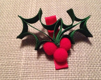 Christmas Holly hair clips, Christmas photo props, Hair Pretties, Hair Cuties, red and green bow, North Pole Bows, Xmas Clippies
