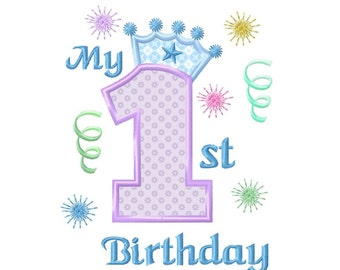 1st Birthday...Applique Machine Embroidery DESIGN NO. 672