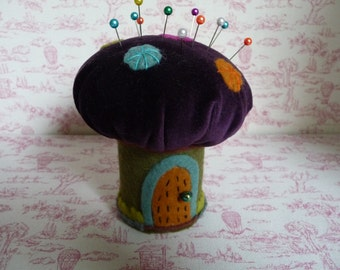 """Pixie Toadstool :Pin Cushion Hand Embroidered Felt and Velvet 4"""" 10cms"""