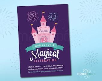 Magical Princess Castle Cake Birthday Invitation - DIY Custom Digital Printable, Fireworks