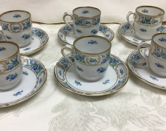 "6 Schumann Demitasse Cups & Saucers ""Forget Me Not"""