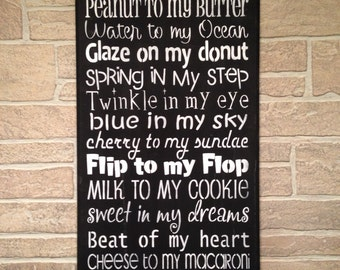 You are the peanut to my butter,I love you,subway art,wedding decor,funny,humourous,flip to my flop,twinkle in my eye,how do i love thee