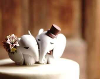 ELEPHANT Wedding Cake Topper - With Stargazer Lilies and Roses -  Warranty Protection Included