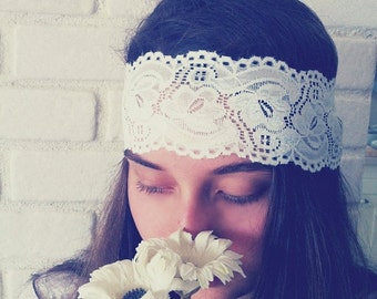 Valentine Sale White Lace Headband, Stretchy Headband,  Wide Lace Headband, Bohemian Headband, Womens Lace Headband, Bridesmaids Hair, Fashi