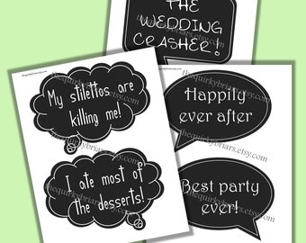 Chalkboard Speech Bubbles / Wedding Photo Booth Props / DIY Photobooth Props / Party Printable / Decors / Digital Instant Download