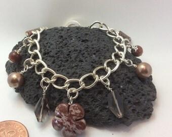 genuine jasper and smokey quartz gemstone charm bracelet