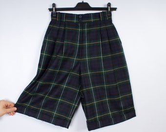 Vintage Women Shorts Skirts Checkered  High Waist Two Pocket Knee Length Shorts