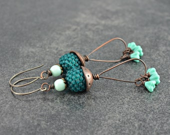 Teal Blooms Earrings