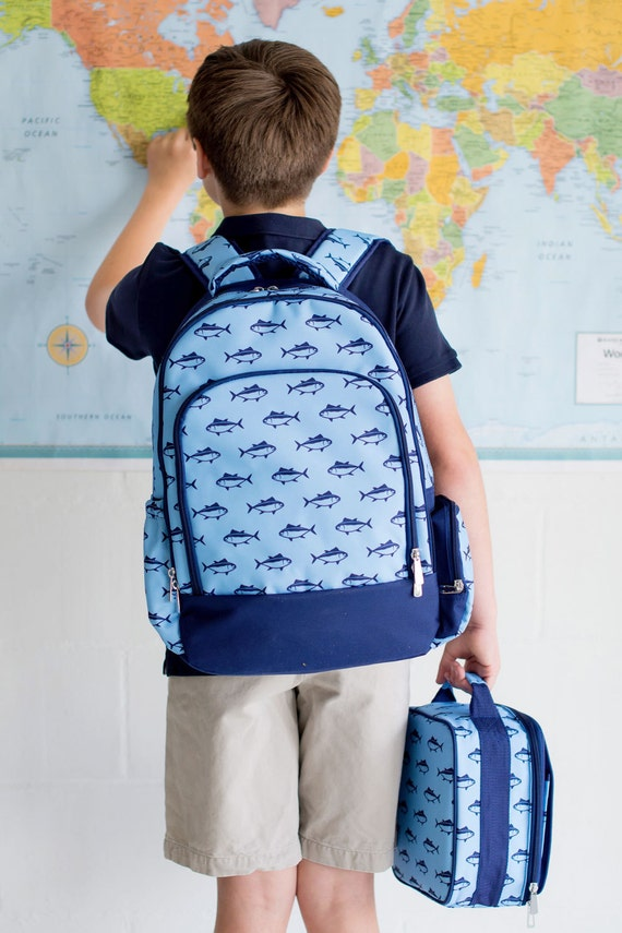 Monogrammed Backpack, Lunchbox or Gym Bag - Finn Fish