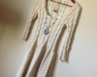 Hand Knitted Vintage Boho Hippie Beige S Dress