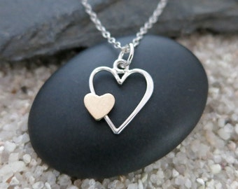 Open Heart Necklace, Sterling Silver Mixed Metal Heart Charm, Love Jewelry