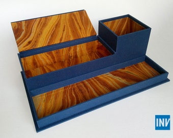 Desk caddy in blue cloth and marbled paper (with pencil cup, tray, and box)