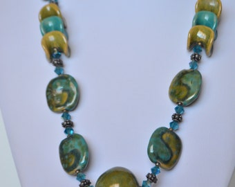 "Vintage Sterling Silver Green Blue Porcelain Ceramic Bead Necklace 20""  S1"