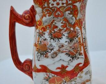 Antique Vintage Japanese Meiji Period Satsuma Kutani Porcelain Gold Gilt Bird Flower Snow House Design Tea Chocolate Pot