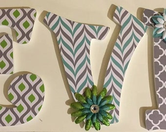 Lime Green, Teal and gray baby nursery girls letters, custom letters Evelyn, decorative letters wood letters personalized wall letters