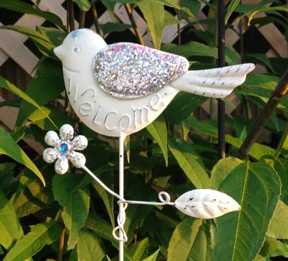 Glittered Bird Garden Stake White Welcome Yard Stake