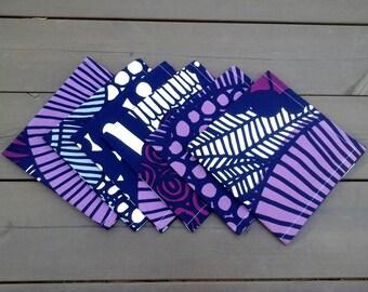 Purple cloth napkins from Marimekko fabric Siirtolapuutarha, modern Scandinavian table decor, colorful dining fabric napkin, set of 6