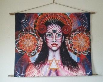 Seri-Ku-a*,wall-hanging fabric with bamboo sticks,ethnic,visionary art,spirituality