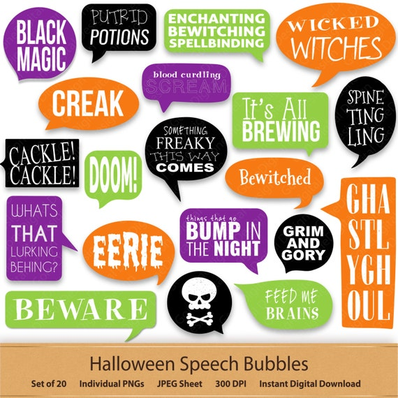 Halloween Bubble Stickers Digital Speech Bubbles Fun Halloween