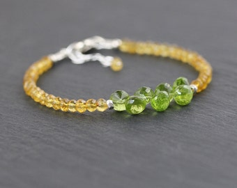 Peridot & Citrine Beaded Bracelet in Sterling Silver or Gold Filled. Dainty Yellow and Green Gemstone Stacking Bracelet. Jewelry. Jewellery