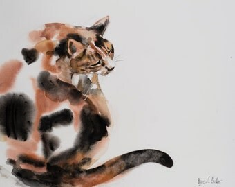 "Calico cat - original watercolor painting (2nd from ""100 dollar cat"" series) 16x20 inches"