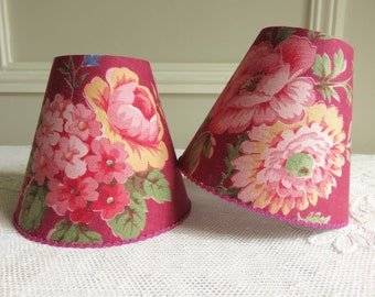 A 1940's vintage French fabric candle lampshade 11 x 13 cm / 4.3 x 5.1 ins for Wall Light, sconce or ceiling chandelier