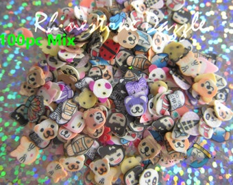 100pcs Animal Polymer Clay Slices, Fine Slices for nail design, nailart, nail decoration, 3D nailart, fimo slices, polymer clay slices